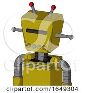 Yellow Automaton With Box Head And Pipes Mouth And Black Visor Cyclops And Double Led Antenna
