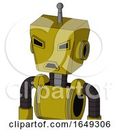 Yellow Automaton With Box Head And Sad Mouth And Angry Eyes And Single Antenna