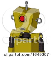 Yellow Automaton With Box Head And Sad Mouth And Cyclops Eye And Single Antenna