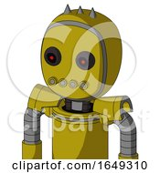 Yellow Automaton With Bubble Head And Pipes Mouth And Black Glowing Red Eyes And Three Spiked