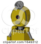 Yellow Automaton With Bubble Head And Vent Mouth And Black Cyclops Eye And Radar Dish Hat
