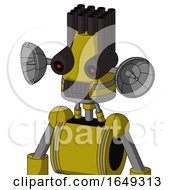 Yellow Automaton With Cone Head And Dark Tooth Mouth And Black Glowing Red Eyes And Pipe Hair