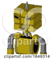 Yellow Automaton With Cube Head And Happy Mouth And Angry Eyes And Spike Tip