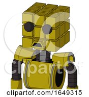 Yellow Automaton With Cube Head And Sad Mouth And Two Eyes