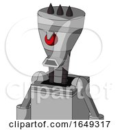 White Automaton With Vase Head And Sad Mouth And Angry Cyclops And Three Dark Spikes