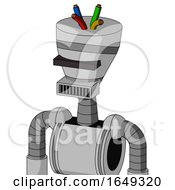White Automaton With Vase Head And Square Mouth And Black Visor Cyclops And Wire Hair