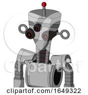 White Automaton With Vase Head And Three Eyed And Single Led Antenna