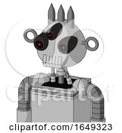 White Automaton With Rounded Head And Teeth Mouth And Three Eyed And Three Spiked