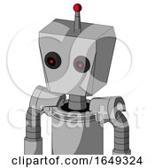 White Automaton With Box Head And Black Glowing Red Eyes And Single Led Antenna