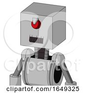 White Automaton With Box Head And Dark Tooth Mouth And Angry Cyclops