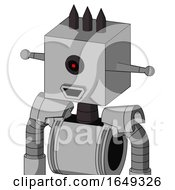 White Automaton With Box Head And Happy Mouth And Black Cyclops Eye And Three Dark Spikes
