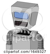 White Automaton With Box Head And Keyboard Mouth And Large Blue Visor Eye