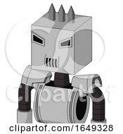 White Automaton With Box Head And Speakers Mouth And Angry Eyes And Three Spiked