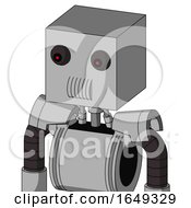 White Automaton With Box Head And Speakers Mouth And Red Eyed