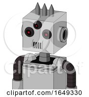White Automaton With Box Head And Speakers Mouth And Three Eyed And Three Spiked