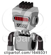 White Automaton With Box Head And Square Mouth And Visor Eye And Pipe Hair
