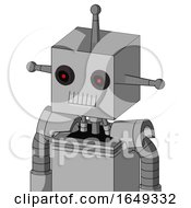 White Automaton With Box Head And Teeth Mouth And Black Glowing Red Eyes And Single Antenna