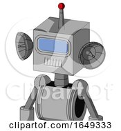 White Automaton With Box Head And Teeth Mouth And Large Blue Visor Eye And Single Led Antenna
