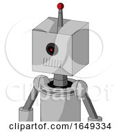 White Automaton With Box Head And Toothy Mouth And Black Cyclops Eye And Single Led Antenna