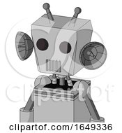 White Automaton With Box Head And Vent Mouth And Two Eyes And Double Antenna