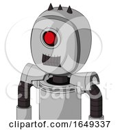 White Automaton With Bubble Head And Dark Tooth Mouth And Cyclops Eye And Three Dark Spikes