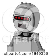 White Automaton With Bubble Head And Dark Tooth Mouth And Visor Eye And Three Spiked