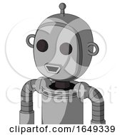 White Automaton With Bubble Head And Happy Mouth And Two Eyes And Single Antenna