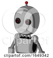 White Automaton With Bubble Head And Teeth Mouth And Black Glowing Red Eyes And Single Led Antenna
