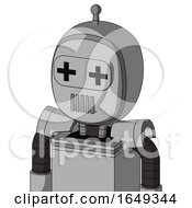 White Automaton With Bubble Head And Vent Mouth And Plus Sign Eyes And Single Antenna