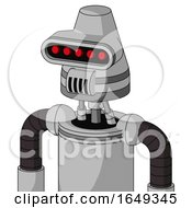 White Automaton With Cone Head And Speakers Mouth And Visor Eye
