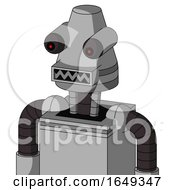 White Automaton With Cone Head And Square Mouth And Red Eyed