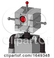 White Automaton With Cube Head And Square Mouth And Cyclops Eye And Single Led Antenna