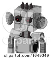 White Automaton With Cube Head And Toothy Mouth And Black Glowing Red Eyes And Three Dark Spikes