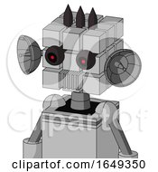 White Automaton With Cube Head And Vent Mouth And Black Glowing Red Eyes And Three Dark Spikes