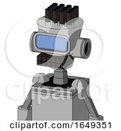 White Automaton With Cylinder Conic Head And Keyboard Mouth And Large Blue Visor Eye And Pipe Hair