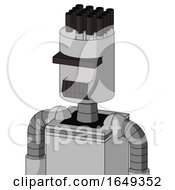 White Automaton With Cylinder Head And Dark Tooth Mouth And Black Visor Cyclops And Pipe Hair
