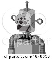 White Automaton With Cylinder Head And Keyboard Mouth And Bug Eyes And Single Antenna