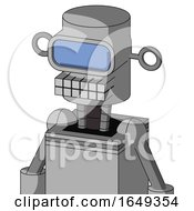 White Automaton With Cylinder Head And Keyboard Mouth And Large Blue Visor Eye