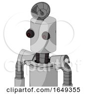 White Automaton With Cylinder Head And Red Eyed And Radar Dish Hat