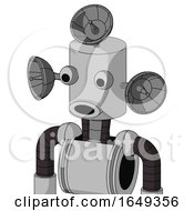 White Automaton With Cylinder Head And Round Mouth And Two Eyes And Radar Dish Hat