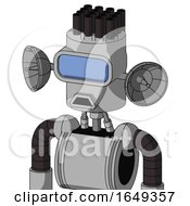 White Automaton With Cylinder Head And Sad Mouth And Large Blue Visor Eye And Pipe Hair
