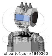 White Automaton With Multi Toroid Head And Round Mouth And Large Blue Visor Eye And Three Spiked