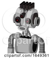 White Automaton With Multi Toroid Head And Round Mouth And Three Eyed And Pipe Hair