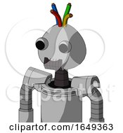 White Automaton With Rounded Head And Dark Tooth Mouth And Two Eyes And Wire Hair