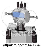 White Automaton With Rounded Head And Square Mouth And Large Blue Visor Eye And Three Dark Spikes