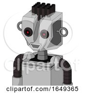 White Automaton With Mechanical Head And Happy Mouth And Black Glowing Red Eyes And Pipe Hair