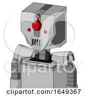 White Automaton With Mechanical Head And Speakers Mouth And Cyclops Compound Eyes