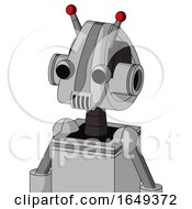 White Automaton With Droid Head And Speakers Mouth And Two Eyes And Double Led Antenna