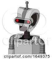 White Automaton With Droid Head And Dark Tooth Mouth And Visor Eye And Single Antenna