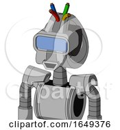 White Automaton With Droid Head And Happy Mouth And Large Blue Visor Eye And Wire Hair